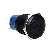 19Mm Metal Aluminum On/Off Push Buttons Switch Self-Locking 12V Blue Led Light