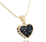 18k Gold Natural Stone Heart Shape Pendant Chain Necklace Jewelry,(Velvet Bag Package)