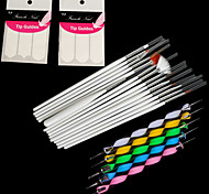 15PCS Nail Art Painting Pen Brush Set + 5PCS 2-way Dotting Pen Tool + 2Bag French Manicure Tip Guides