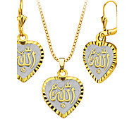 Allah Jewelry 18k Gold/Platinum Plated Heart Shape Necklace&Earrings Fashion Women Jewelry Set Gift S20163