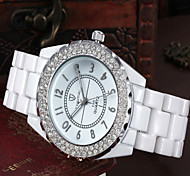 Mulheres Relógio de Moda Quartz Tecido Banda Branco marca-