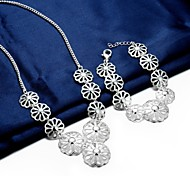 Silver Plated Jewelry Set Necklace/Bracelet Party / Casual 2pcs