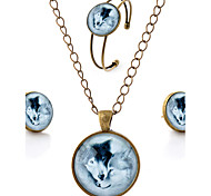 Lureme® Time Gem Series Simple Vintage Style Romantic Lovers Wolf Pendant Necklace Stud Earrings Bangle Jewelry Sets