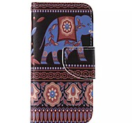 National Wind Elephant Painted PU Phone Case for iphone5SE