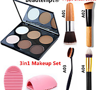 3in1 Makeup Set(6 Color 2in1 Bronzer&Highlighting Powder Bright&Matte Cosmetic Palette+1 Powder Brush+1 Brush Egg)