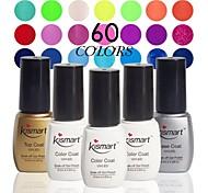 elegir 1 pieza 6,5 ml kismart empapa del gel ultravioleta esmalte de uñas de gel de 60 colores LED gel de la manicura