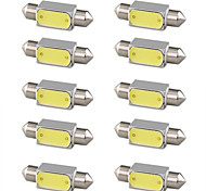 10 Pcs 3W White High Power Cob Led Festoon Bulb Lamp Light Car Truck 6000K