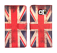 American or British  flag Leather case Cover Wallet Card Slot Case for Samsung Galaxy S6