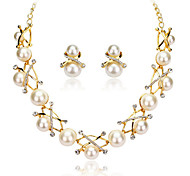 Women's White Pearl Statement Necklace Earrings Jewelry Set for Wedding Party