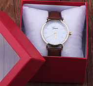 Fashion Style Unisex Casual Geneva golden Watch Checkers Faux Leather Quartz Analog Wrist Watch