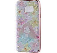 Flowery Girl Mirror Surface Relief Frame TPU for Samsung S7/S13 Edge