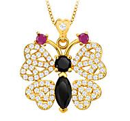 Zirconia Animal Jewelry Butterfly Pendant Necklace 18K Gold Plated Luxury Austrian Crystal Jewelry Women Gift P30109