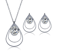 Jewelry Set Stainless Steel Zircon Titanium Steel Fashion Geometric Silver Necklace/Earrings Wedding Party Daily Casual 1setNecklaces