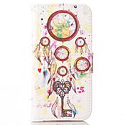 eólico sinos flor padrão de capa de couro pu com slot para cartão e ficar para iPhone 6 6s / iphone