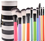 Enzo 10pcs Rainbow Color With Black White Strip Bucket Makeup Brushes Set Synthetic Hair Travel  Portable