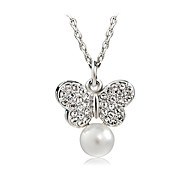 T&C Women's Concise 18K White Gold Plated White Simulated Pearl Crystal Butterfly Shaped Pendant Necklace