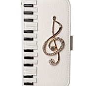 Luxury piano keyboard Bling musical note flash diamond PU leather wallet Stand Pouch Case for SamsungS2/ S3/S4/S5/S6/S6E