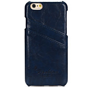 Genuine Leather Wallet Back Case for iPhone 6/6S(Dark Blue)