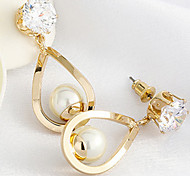 18K Gold Pearl Water-Drop Shape Security Quality Drop Earrings Jewelry for Wedding Party