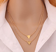 European Style Street Beat Fashion Simple Double Triangle Necklace