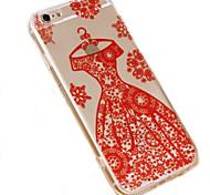 padrão de vestido de noiva do caso do material de telefone de acrílico transparente para iPhone 6 / 6s (cores sortidas)