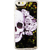 esqueleto caja color de rosa de arena PC Phone líquido negro para el iphone 6&6s