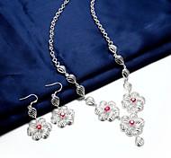Silver Plated Jewelry Set Necklace/Earrings Party / Casual 2pcs