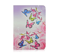 For Samsung Galaxy Case Card Holder / with Stand / Flip Case Full Body Case Butterfly PU Leather Samsung Tab 4 10.1