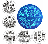 New Designs Nail Art Plate Stamp Stamping Set Round Stainless Steel DIY Nail Polish Print Manicure Nail Stencil Template
