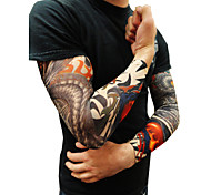 10pcs Set Body Art Arm Stockings Slip Accessories Fake Temporary Tattoo Sleeves, Tiger, Crown Heart, Skull, Tribal Shape