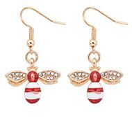 European Style Fashion Cute Small Bee Rhinestone Earrings