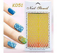 New Nail Art Hollow Stickers Flower Geometric Shape  Design  Nail Art Beauty K051-060