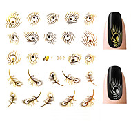 Nail Art Stickers,10pcs/lot Gold Silver 3d Creative Feather Design Nail Tips Wraps Decals,Nail Art Decorations Tools
