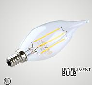 3W E14 Luzes de LED em Vela B 4 COB ≥300 lm Branco Quente Decorativa AC 220-240 V 1 pç