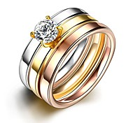 Fashion Indevidual Unisex Matting White Zircon Gold-Plated Titanium Steel Couple Rings(Golden,Rose Gold,Silver)(1Pc)