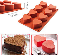 8-Cavity Heart-shaped Silicone Pudding Chocolate Mold Cupcake 3D Baking Cake Pan(Random Color)
