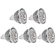 5W GU5.3(MR16) LED Spot Lampen MR16 4 High Power LED 270 lm Warmes Weiß DC 12 V 5 Stück