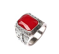 New Vintage Men Women's Black Red Square Gem Geometric Ring