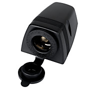 Jtron Water Resistant Cigarette Lighter Socket for Car & Motorcycle - Black
