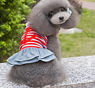 Personality Naval Stripe Pet Denim Dress