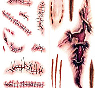 Terror Wound Lifelike Blood Scar Pattern Plastic Tattoo Stickers White Brown