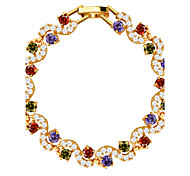 Colorful Luxury Crystal Vintage Jewelry High quality 18k Gold Plated Cubic Zirconia Bracelet Women Jewelry Gifts B40175