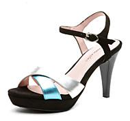 Aokang® Women's Vintage Crossover Cone Heel Sheepskin Sandals (blue)