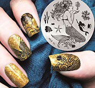 2016 Latest Version Fashion Pattern Mermaid Nail Art Stamping Image Template Plates