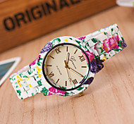 Women's European Style Fashion Cute Floral Flower Print Wrist Watch Cool Watches Unique Watches