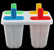 DIY Ice Cream Frozen 4Pcs Popsicle Maker Mold Icepop Block Icy Pole Lolly Set