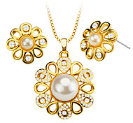 Simulated Pearl Trendy Luxury Crystal Necklace Pendant 18K Gold Plated Necklace Earrings Bridal Jewelry Set Gift S20075