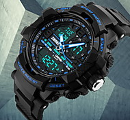 Men's Fashion Double Time Analog & Digital Rubber Band Quartz Watch