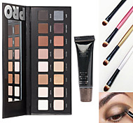 Pro Cosmetics Makeup Set(16 Colors Luminous Eyeshadow Eye Shadow Palette with Mirror+1 Primer Base+4 Brush)