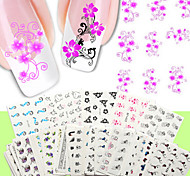50PCS Nail Art Water Transfer Stickers 50 Different PCS/Set Flower Design Nail Sticker-Nude Packing